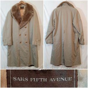 Saks Fifth Avenue 'Fur' Collar Trench